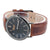 Black Dial Mens Watch Brown Leather Strap Geneva Platinum Designer
