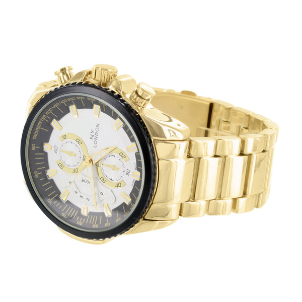 White Black Dial Watch Gold Tone Stainless Steel Back