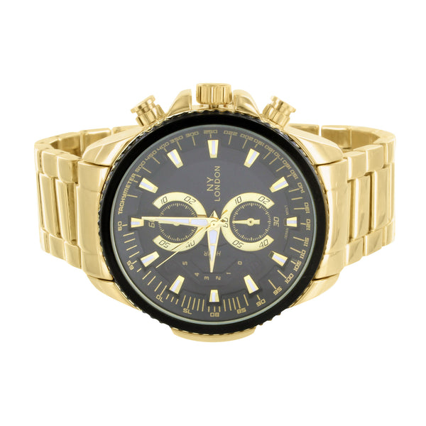 Black Dial Watch Mens Big Face Bezel 14k Gold Tone Steel Case NY London Stylish