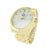 New Gold Tone Mens Watch White Dial Round Face Analog NY London