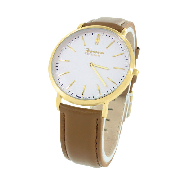 Geneva Platinum Mens Watch Gold Tone White Dial Brown Strap 42 MM