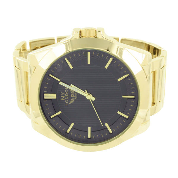 Black Dial Gold Tone Watch Mens Round Face NY London