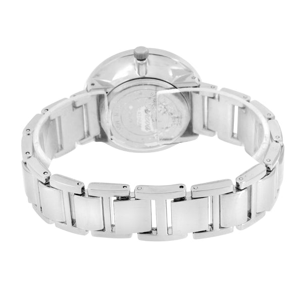 Geneva Rhodium Finish Watch White Cubic Zirconia White Dial Analog