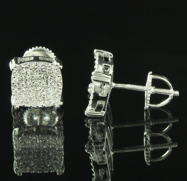 Genuine Diamond Watch Earrings Set Silver Tone Rubber Band Prong Set Studs 9mm