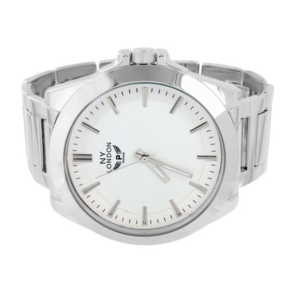 White Gold Tone Watch White Dial NY London Stainless Steel Back Water Resistant