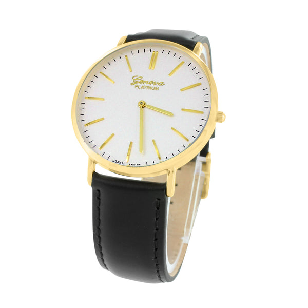 Mens Gold Tone Watch White Dial Black Leather Band Stainless Steel Back