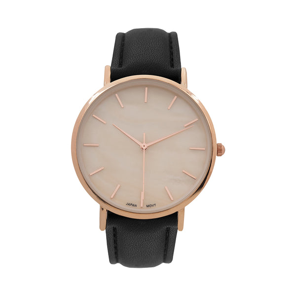 14k Rose Gold Finish Designer Leather Band Watch New