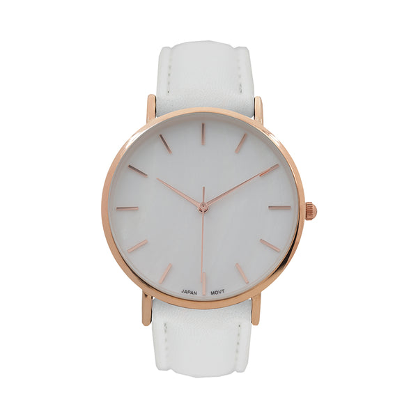 Designer White Leather Band 14k Rose Gold Finish Women's Watch