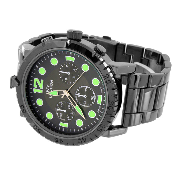 Black Mens Watch Green Hour Mark   NY London Water Resistant