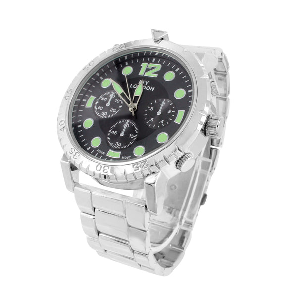 Mens Watch White Gold Tone Black Green Dial Analog NY London