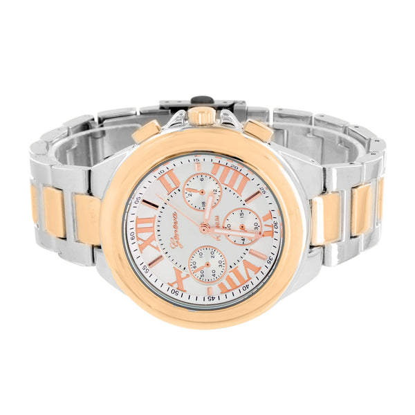Classy 2 Tone Unisex Watch White Rose Gold Tone Roman Numeral Dial