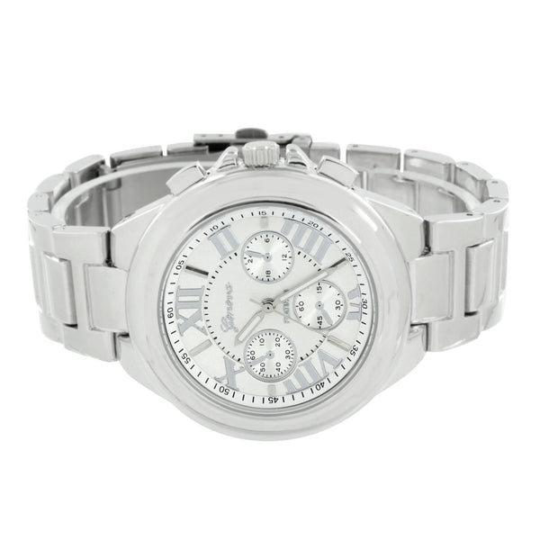 Roman Numeral Dial Watch Geneva Platinum White Gold Tone Water Resistant Classy