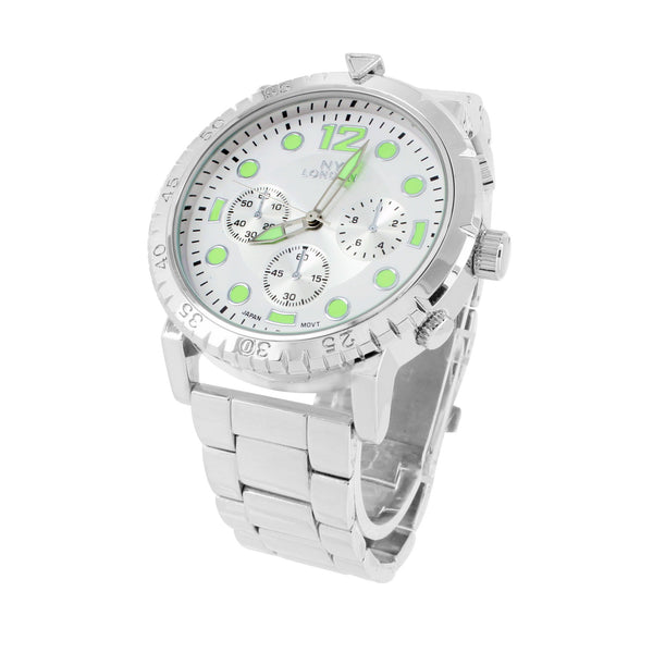 White Gold Tone Men's Watch With Green And White Dial