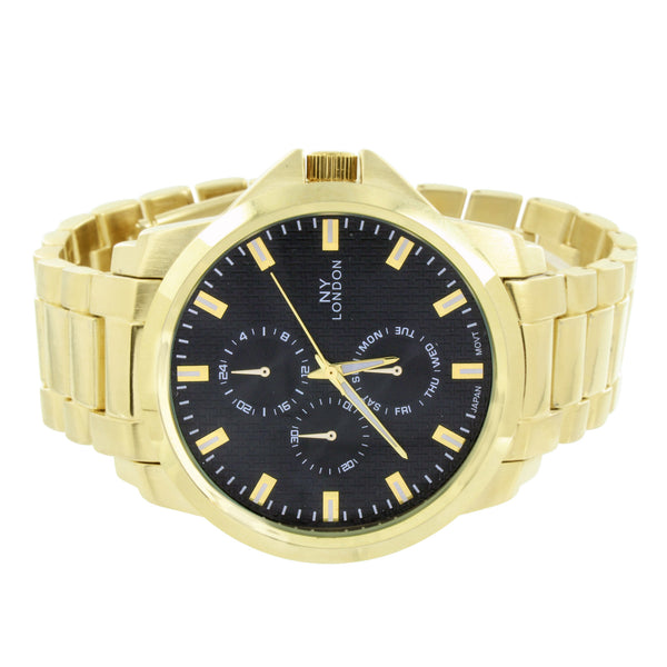 Black Dial Mens Watch Gold Tone NY London Water Resistant