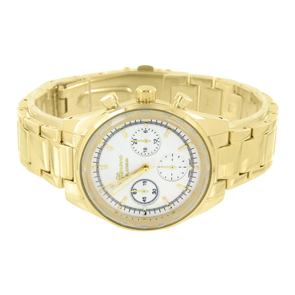New White Dial  Gold Tone Geneva Watch  Men Women Water Resistant
