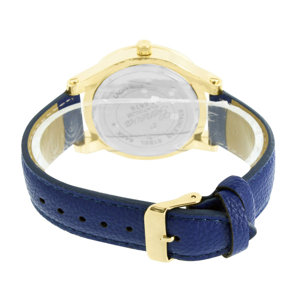 Blue Leather Band Watch Designer Glass