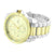 Mens 2 Tone Watch Analog White Gold Tone Analog Round Face Water Resistant 53 MM