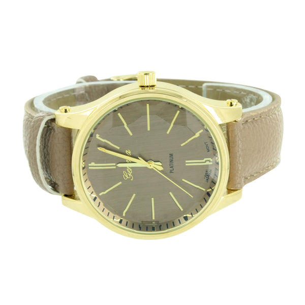 Coffee Brown Leather Strap Watch Gold Finish