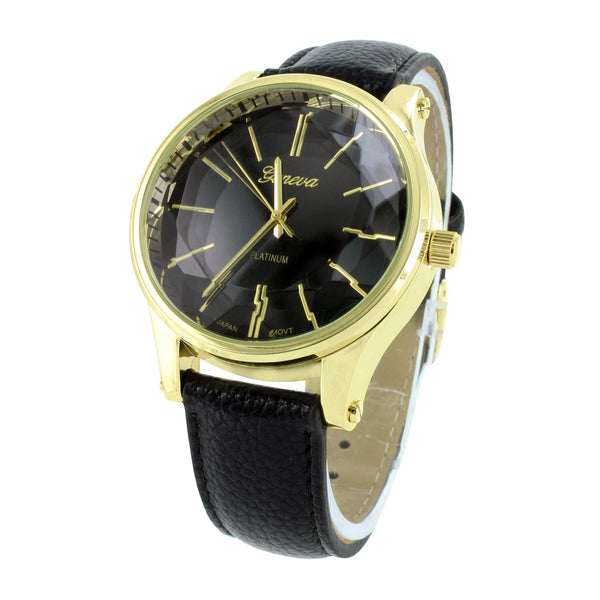Black Dial Watch Gold Finish Black Leather Band
