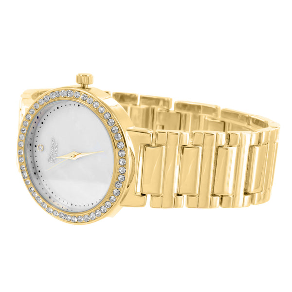 MK Style Presidential Bracelet Watch Yellow Gold Finish MOP Dial