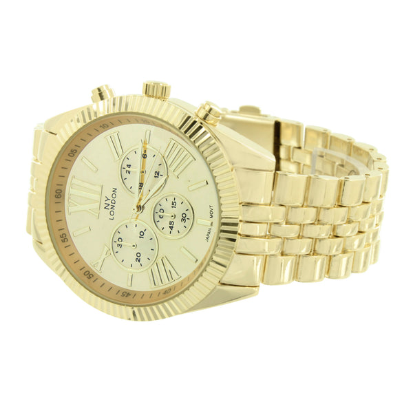 Anolog Mens Gold Tone Watch Roman Numeral Dial NY London