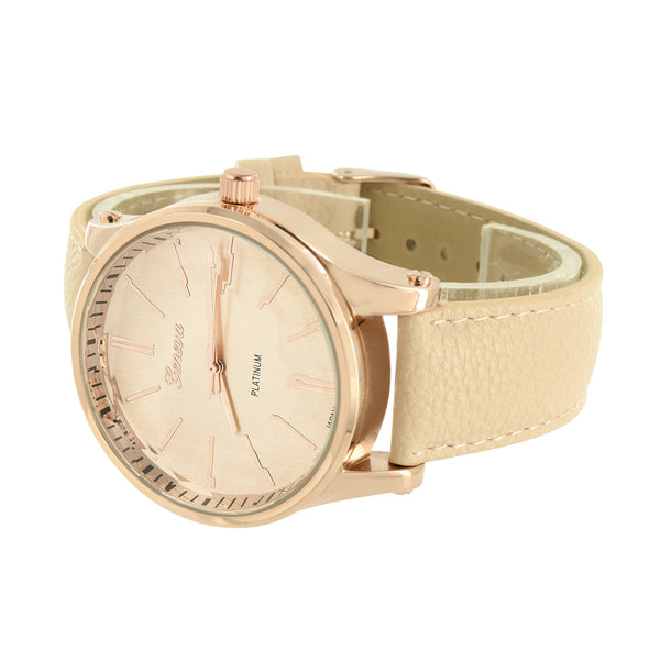 Women Rose Gold Finish Watch Pink Leather Band