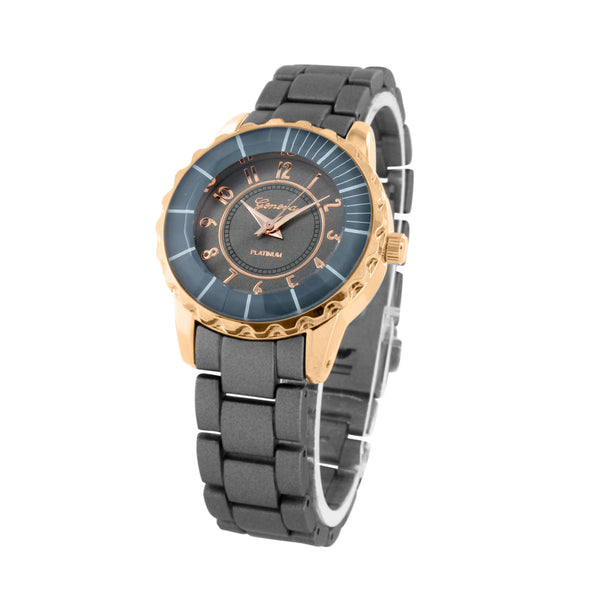 Rose Gold Tone Watch Black Band Water Resist Geneva Unique Celeb