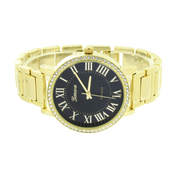 Black Dial Watch Gold Finish Roman Numeral