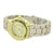 Ladies Geneva Watch Yellow Gold Tone Water Resistant Analog Round Face Slim Design
