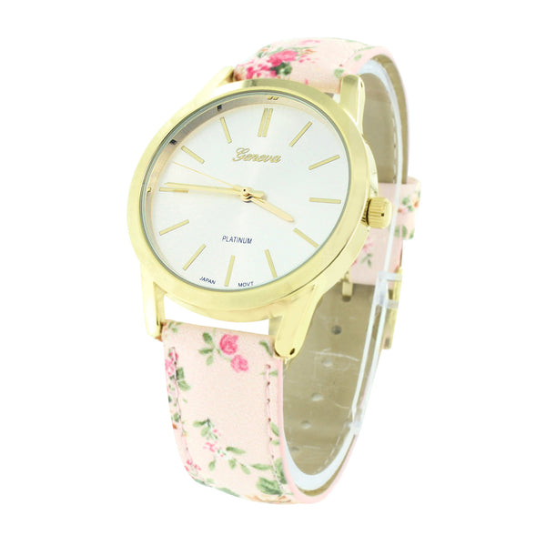 Pink Floral Band Watch Gold Finish