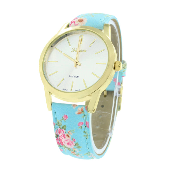 Gold Finish Women Watch Blue Floral Design Leather Strap
