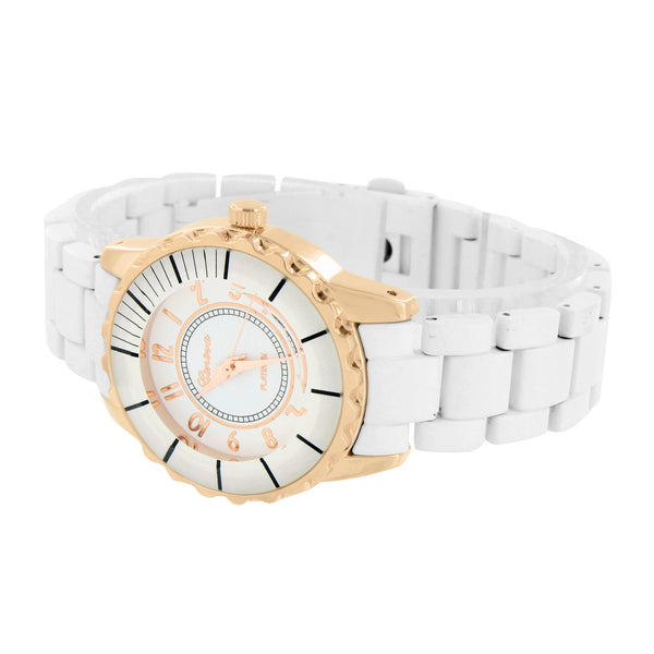 Rose Gold Tone Watch White Dial & Band Analog 2 Tone Elegant Womens