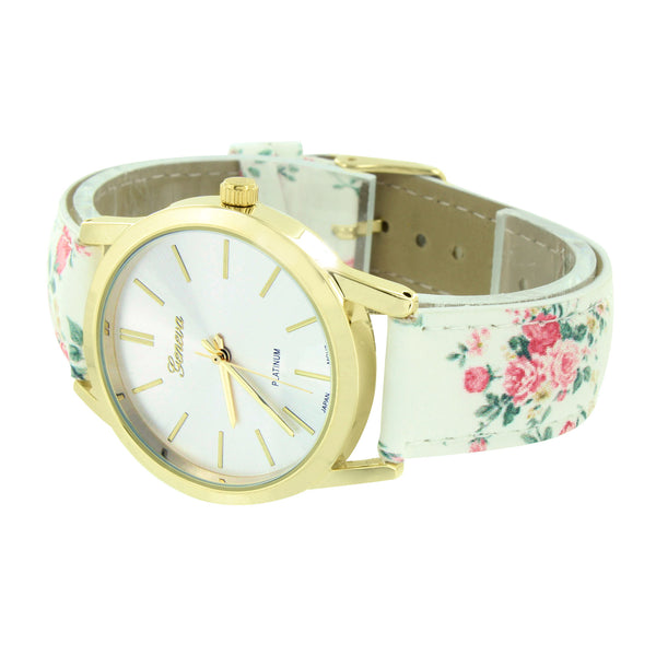 Gold Finish Watch Women White Floral Design Leather Strap