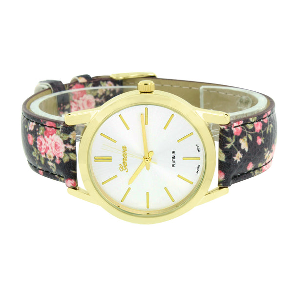 Ladies Geneva Platinum Watch Black Floral Leather Band