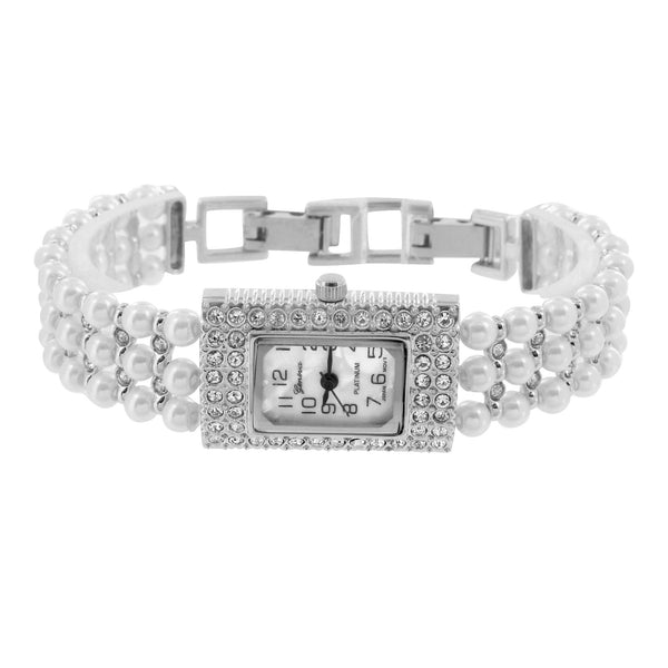 Womens Pearl Band Watch White Gold Tone Analog Lab Create Diamond Luxury Design
