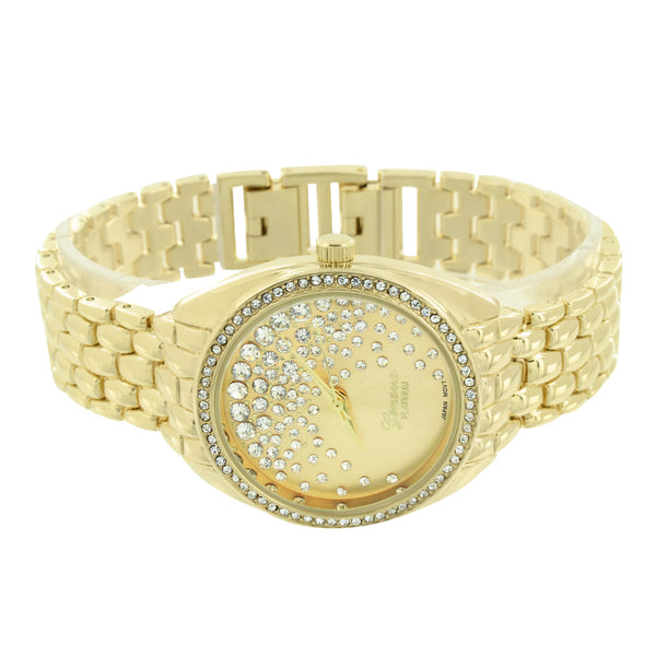 Women Gold Tone Geneva Watch Lab Created Diamond Round Face