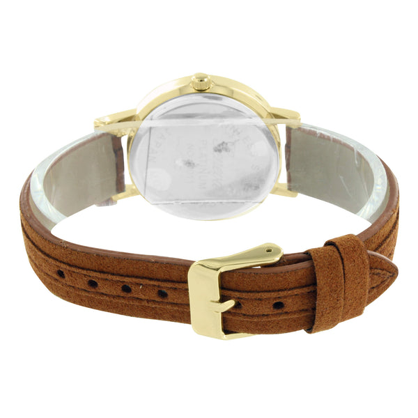Gold Tone Watch White Dial Brown Suede Strap Water Resistant Round Face 35 MM