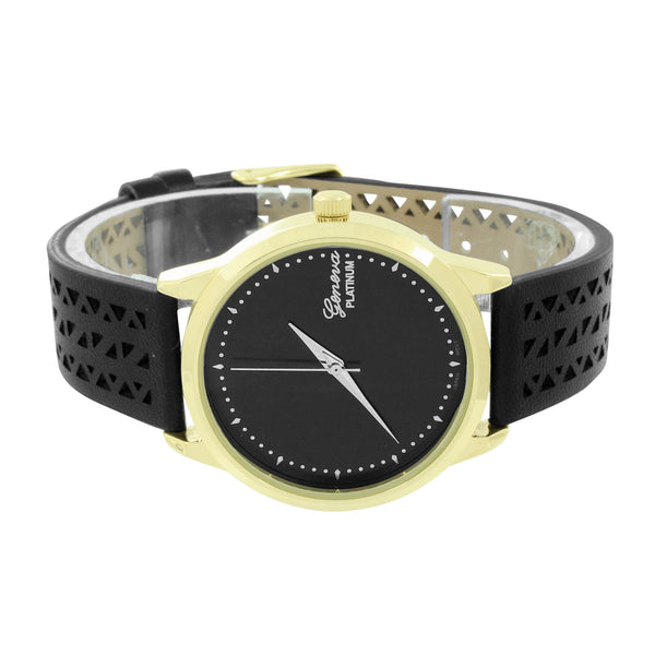 Black Dial Watch Silicone Rubber Band Geneva Platinum New