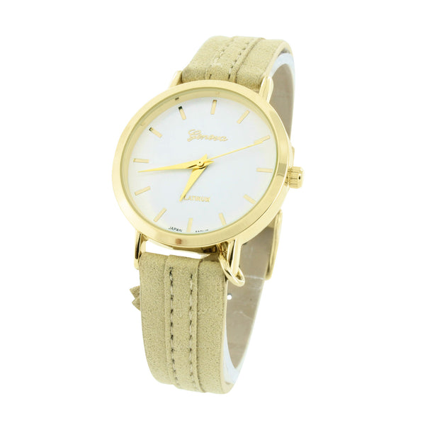 White Dial Womens Watch Gold Tone Suede Strap Water Resistant Ladies