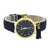 Navy Blue Dial Watch Blue Suede Band Gold Tone Womens 35 MM Geneva
