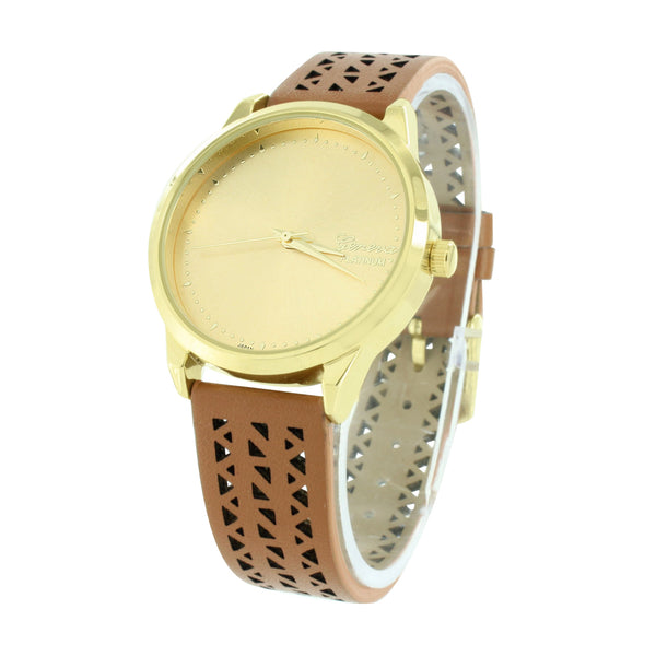 Brown Silicone Band Watch Gold Finish