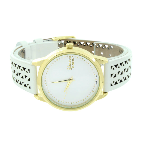Gold Finish Watch White Rubber Silicone Strap Geneva Platinum