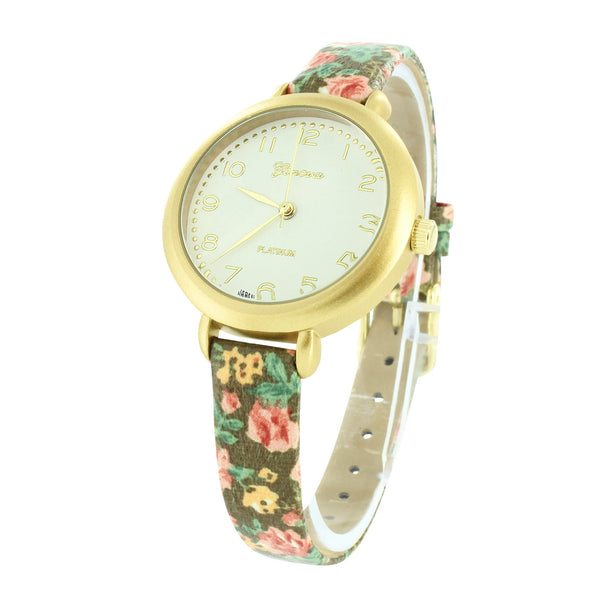 Ladies Floral Band Watch Designer Yellow Gold Finish White Dial