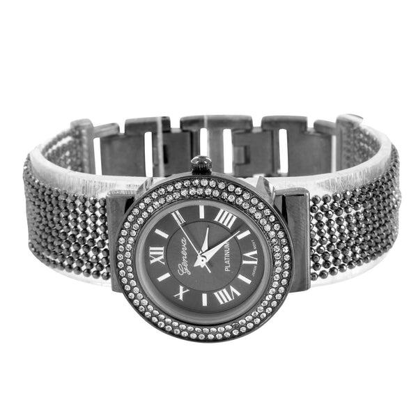 Bead String Band Watch Lab Create Diamond Black PVD Roman Dial Round Face Womens