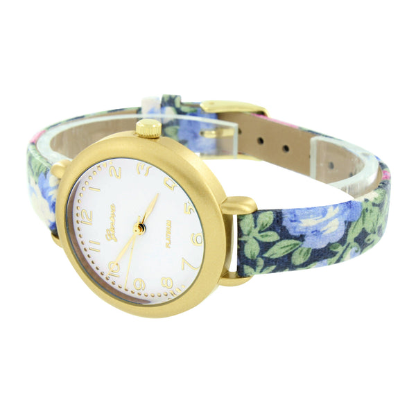 Ladies Watch Floral Design Leather Band Slim Design Geneva