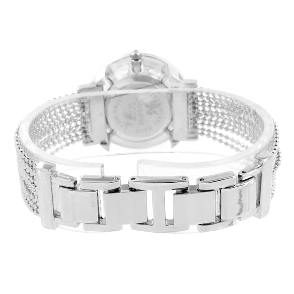 Ladies Bead String Watch Designer White Gold Tone Geneva Unique