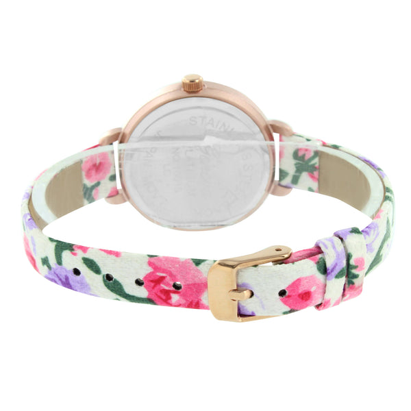 Flower Leather Band Watch Rose Gold Finish White Dial