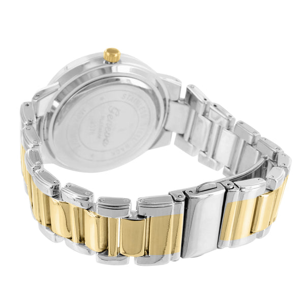 Roman Numeral Dial 2 Tone Watch Yellow & White Gold Finish Metal Band