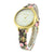 Gold Finish Watch White Dial Floral Flower Leather Band