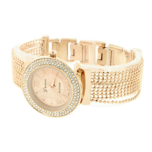 Womens Rose Finish Watch Lab Create Diamond Bead String Design Water Resistant